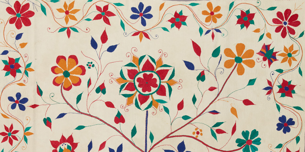 Detail of a quilt (kantha): tree of life, c. 1910–1920, cotton, Dallas Museum of Art, gift of Alta Brenner in memory of her daughter Andrea Bernice Brenner-McMullen, 1996.177