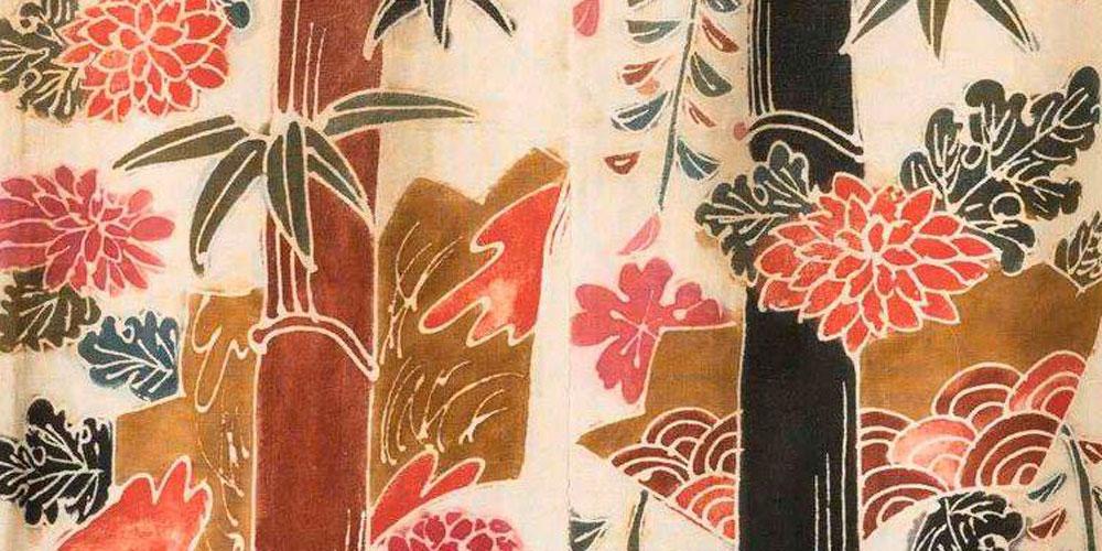 Detail of Kimono for Bon Odori, in Tsutsugaki, Tsushima island, Meiji. JAPON & JOUY / Dialogues between Sarasa and Indiennes. Musée de la Toile de Jouy.