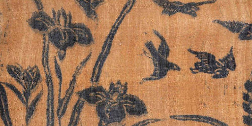Detail of Kimono, Katazome on Basho, Meiji.