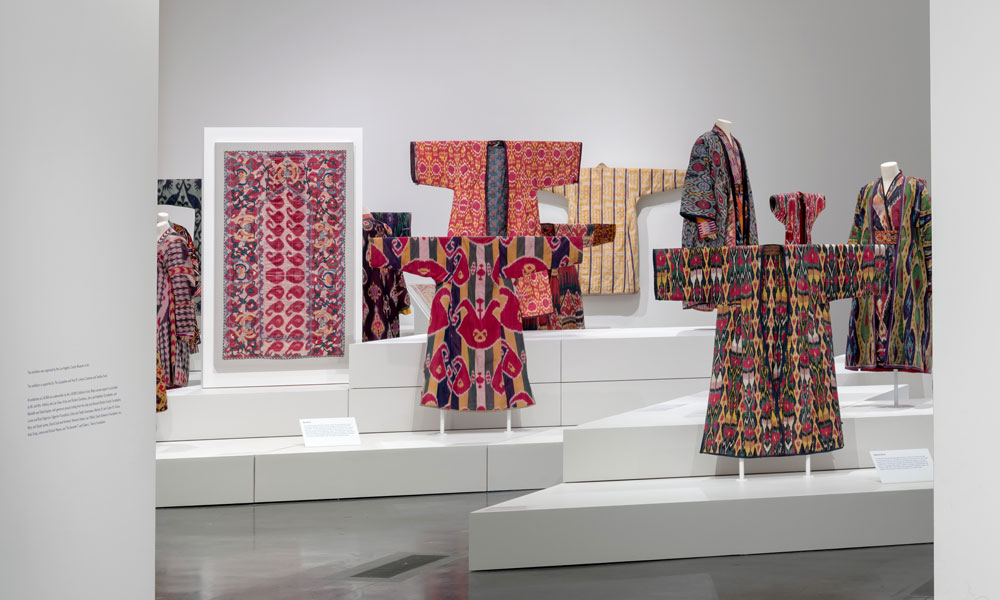Silk ikat garments and hangings in 'Power of Pattern: Central Asian Ikats from the David and Elizabeth Reisbord Collection', on display at the Los Angeles County Museum of Art until 28 July 2019.